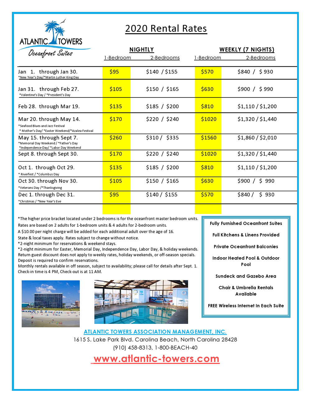 Atlantic Towers Rental Rates